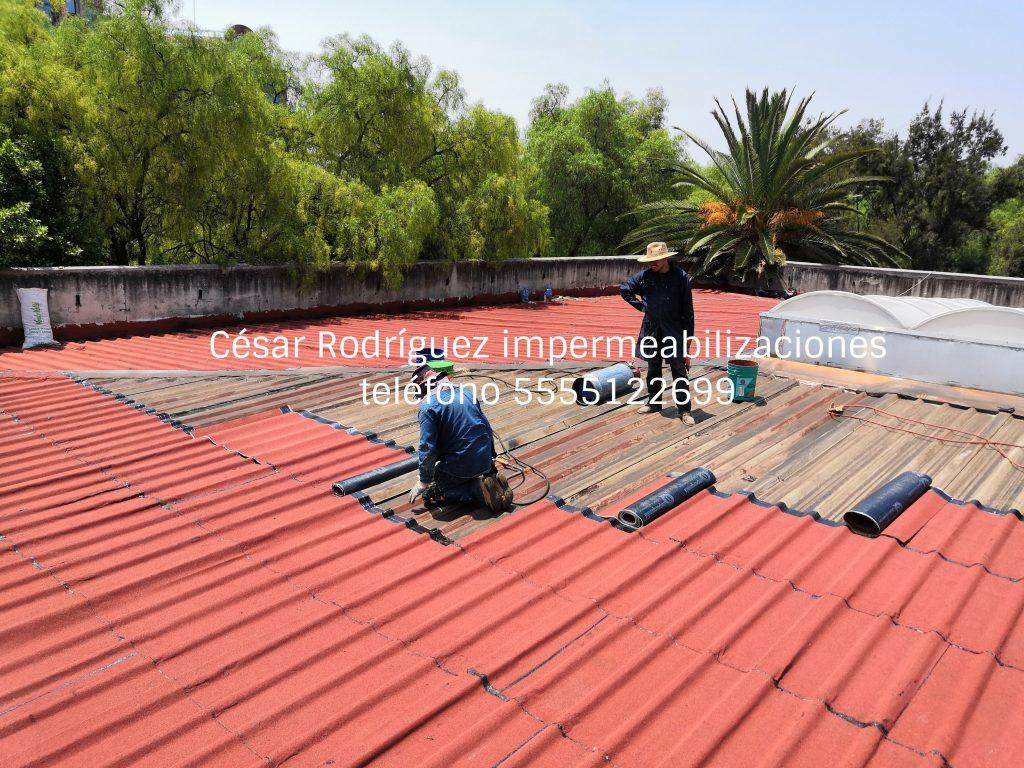Impermeabilización de techo de lámina metálica. Impermeabilizaciones. Empresa de impermeabilizaciones.